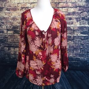 Lucky Brand Floral Print Size XL Long Sleeve